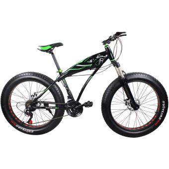 OUXUELAI 21 Speed 17 Inches Fat Bike Mountain Bicycle (Green)