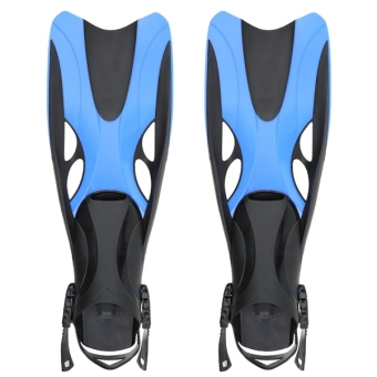Pair of Wave Snorkeling Open Heel Fins Flippers - Size S/M (Blue)
