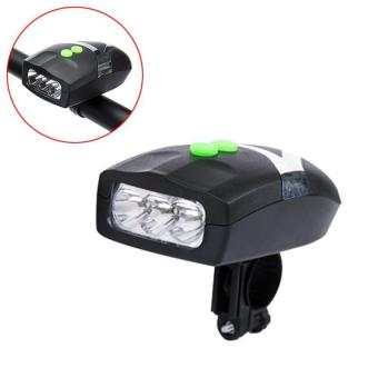 PAlight Ultra Bright 3 LED Bike Cycling Front Head Light Lamp + Electronic Bell Horn Combination Bicycle Accessories - intl
