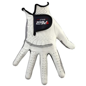 PGM Men's Golf Gloves Leather Breathable Slip Left Hand Glove RightHand Glove (White)