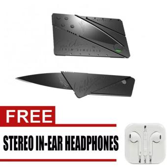 PH_STORE Credit Card Type Folding Safety Knife Multi-tool Kit(Black) with free Stereo In-Ear Headphone (White)