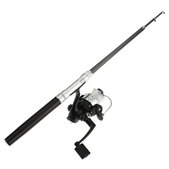 Pocket Pen Fishing Rod Pole Reel + Nylon Line Set