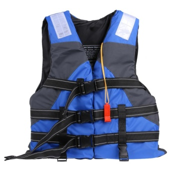 Polyester Adult Life Jacket Swimming Boating Ski Vest with Whistle- intl Price Philippines