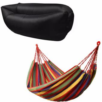 Portable Cotton Rope Outdoor Hammock (Multicolor) with Fast InflateAir Bed Lazy Sleeping Bed Folding Sofa/Chair (Black)