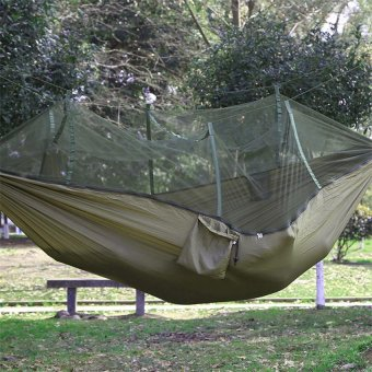 Portable Travel Camping Nylon Fabric Parachute Hammock Hanging BedSleep Swing Travel Camping Outdoor Hammock Swing Hanging Bed SackMosquito Net Portable(Army Green) - intl