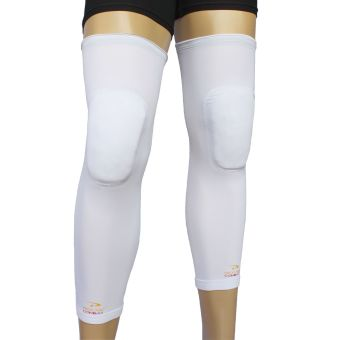 PROCARE Combat #5301W Compression Knee Padded Leg Sleeves with Top Anti-Slip, Pair (White)