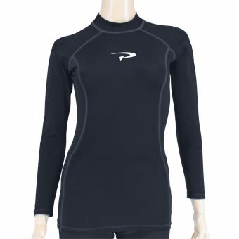 PROCARE MARINE #RT215 Ladies Rash Guard High Neck Long Sleeves, UVProtection UPF30+ (Black/Gray FlatLock Seam)