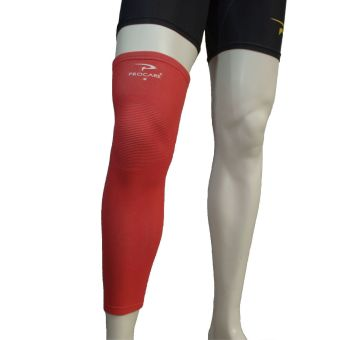 PROCARE PROTECT #6022UR Leg Sleeves 17-inch, Thigh Knee ShinSupport, Elastic 4-way Spandex Seamless 1pc (Red)