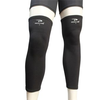 PROCARE PROTECT #6044 Leg Sleeves 17-inch, Thigh Knee Shin Support,Elastic 4-way Spandex Seamless PAIR (Black)