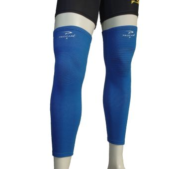 PROCARE PROTECT #6044AB Leg Sleeves 17-inch, Thigh Knee ShinSupport, Elastic 4-way Spandex Seamless PAIR (Blue)