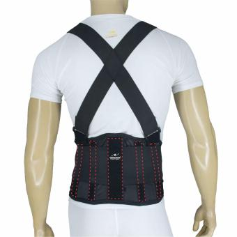 PROCARE PROTECT #BS02 Industrial Lumbar Back Support Belt, 5pcsStabilzer Support with Suspender, Knitted Mesh Fabric Air-FlowWaist Wrap (Black)