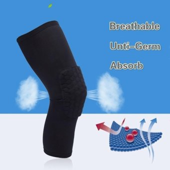 Professional Compression Crashproof Support Honeycomb Long Knee Pads Protector for Basketball and other Team Sports Black Size M - intl