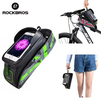 ROCKBROS Bicycle Front Top Tube Bag Cycling Bike Frame SaddlePackage For Mobile Phone Waterproof Touchscreen Bike AccessoriesFour Colours Two Sizes (5.8'' Touch Screen Green) - intl