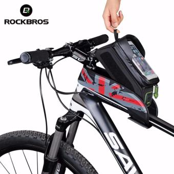 ROCKBROS Bicycle Front Top Tube Bag Cycling Bike Frame SaddlePackage For Mobile Phone Waterproof Touchscreen Bike AccessoriesFour Colours Two Sizes (5.8'' Touch Screen Red) - intl