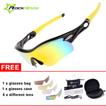 ROCKBROS Pro Polarized Cycling Glasses Bike Sports Sunglasses 5Lens Goggles