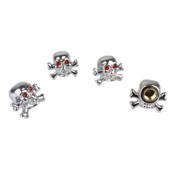S & F Skull Valve Caps Set of 4 (Silver) - INTL
