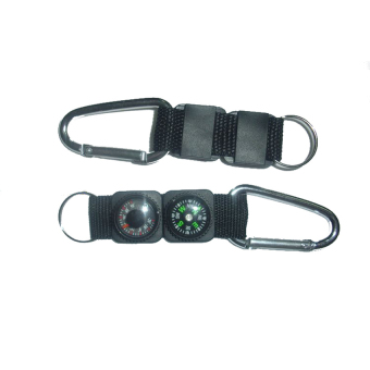 S & F Outdoor Camping Hiking Mini Carabiner Keychain Compass Thermometer Black - Intl