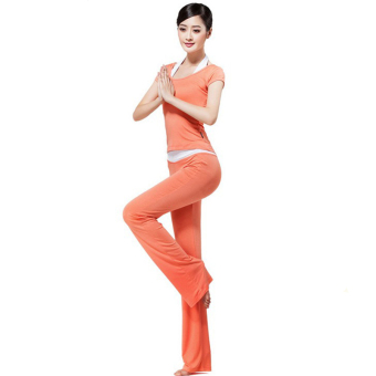 Short Sleeve Slim Fit 3 pieces Modal Yoga Gym Clothing Sets (Orange) - INTL - picture 2