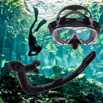 Silicone Diving Mask Anti-Fog Goggles Glasses + Snorkel BreathingTube Set - intl - 2