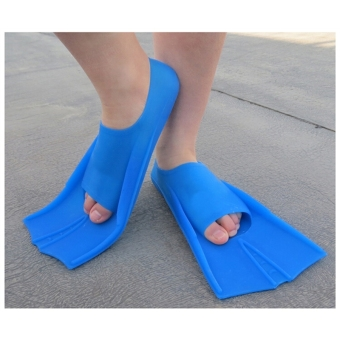 ... Silicone Rubber Short Swimming Training Fins for Kids and Adults31-32(Blue) ...