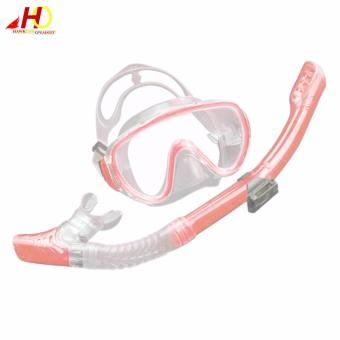 Snorkeling diving set kit gear Equipment TemperedGlass Silicone Fog proof Mask  Full dry Breath tube SwimSpearfish Swim Tools (Pink)