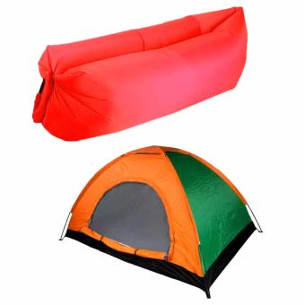 SNS 2 Person Family Camping Tent with Fast Inflatable Sleeping BedFolding Sofa/Chair (Red)