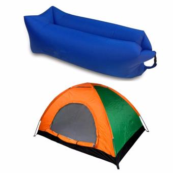 SNS 8 Person Family Camping Tent with Fast Inflatable Sleeping Bed Folding Sofa/Chair (Blue)