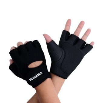 Sport Cycling Fitness GYM Half Finger Weightlifting Gloves Exercise Training (Black)