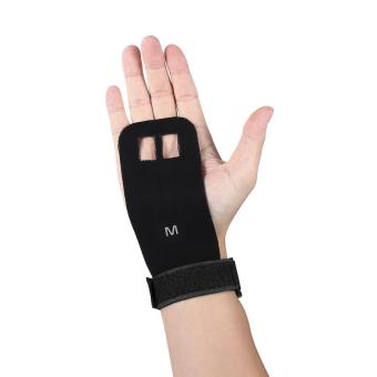 Sports Weight Lifting Hand Grips Guard Palm Protector Artificial Leather Gloves(Black/M) - intl