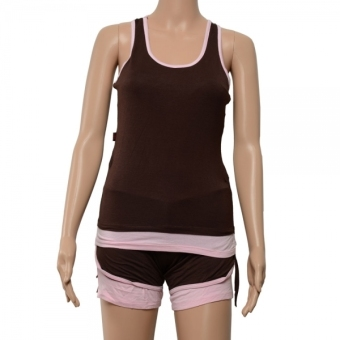 Spring and Summer Sleeveless Yoga Clothing Suit (Deep Gray Vest + Pink Pants) Size L - INTL - picture 2