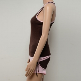 Spring and Summer Sleeveless Yoga Clothing Suit (Deep Gray Vest + Pink Pants) Size L - INTL