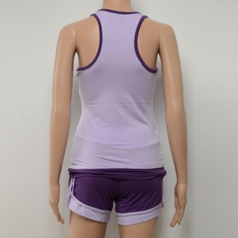 Spring and Summer Sleeveless Yoga Clothing Suit (Light Purple Vest + Deep Purple Pants) Size M - INTL - picture 2