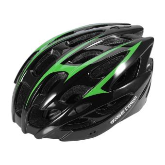 Streamline 28 Holes Mountain Bike Helmet Unisex Protective Helmet(Black and Green) - intl