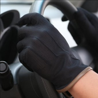 Summer Thin Unsexy Cycling Driving Riding Comfortable Gloves Black- intl