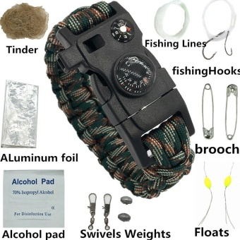Survival Bracelet With Watch Compass Flint Fire Starter ScraperWhistle Gear - intl