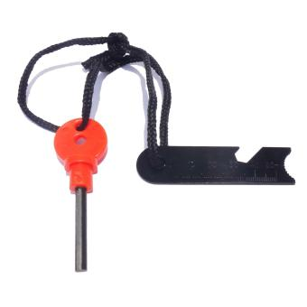 Survival Magnesium Fire Starter Flint Firesteel Tactical Tool WithEmergency Rescue Whistle Compass Function Orange - 3