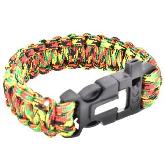 Survival Paracord Bracelet Whistle Gear Flint Fire Starter Scraper Kits