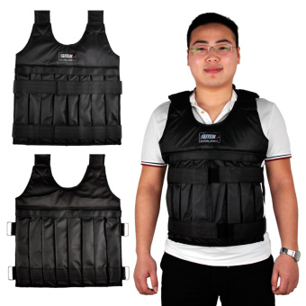 SUTENG 20kg Weighted Vest With Sholder Pads Comfortable WeightJacket Adjustable Sanda Exercise Boxing Sand Clothing (Empty)