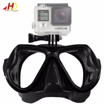 Swimming Diving Scuba Mask Silicone Tempered Glass Anti-Fog Gogglesw/ Universal Action Camera Docking System (Black)