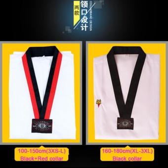 Taekwondo V-Neck White Complete Uniforms With White Belt For Adult Children Fit All - intl - 2