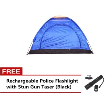 Tena 111 6-Person Dome Camping Tent (Blue) + FREE Rechargeable Police Flashlight with Stun Gun Taser (Black)