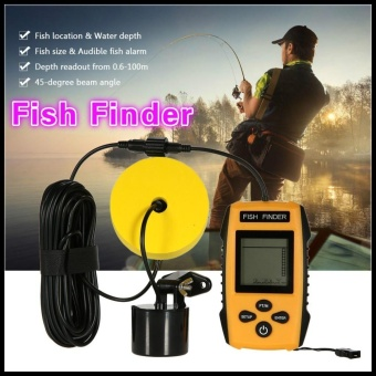 TL88E Portable Fish Finder Alarm 100M Sonar LCD Fishing LureFishfinder Wired Sounder Sensor Transducer for Boat Ice Fishing -intl