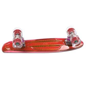 """Transparent Colorful Flashing Wheel Cruiser 22"""" Skateboard (Red)"""