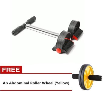 Tummy Trimmer Single Spring (Black) with Free Ab Abdominal RollerWheel (Yellow)