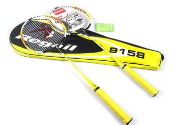 (Two pieces) Regail 9158 Durable Speed Badminton Racket BattledoreRacquet with Carry Bag for Couples Yellow Color 1 Pair - intl Price Philippines