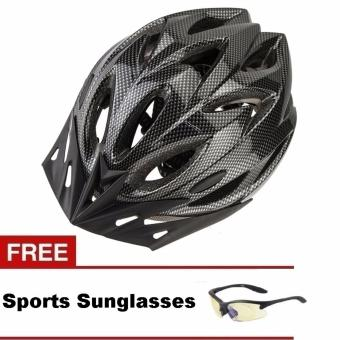 Unisex Adult Road Bike Carbon Design Safety Helmet Visor with FREESports Sunglasses