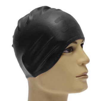 Unisex Adult Silicone Stretch Swimming Long Hair Cap Hat With Ear Cup Protection Black - INTL - picture 2