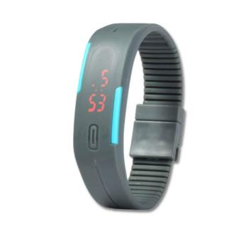 Unisex Gray LED Sports Rubber Strap Digital Bracelet Wrist Watch