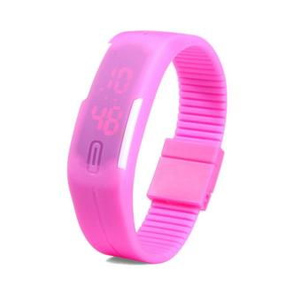 Unisex Pink LED Sports Rubber Strap Digital Bracelet Wrist Watch