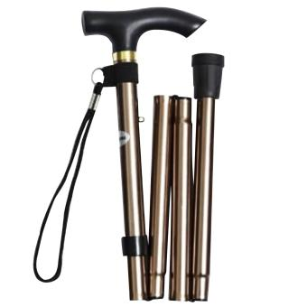 Unisex Woman Men Portable Folding Collapsible Cane Travel Walking Hiking Mountain Climbing Stick Non-slip Adjustable Aluminum Alloy Foldable Crutch with Comfortable Handle for Old Gentleman or Lady Golden - intl